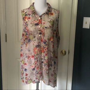 Miss Lily Sheer Floral Sleeveless Blouse
